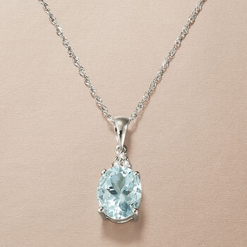 2.00 Carat Aquamarine Pendant Necklace With Diamond Accents in 14kt White Gold, , default