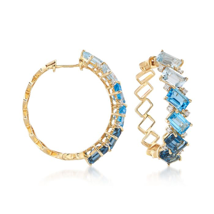 8.60 ct. t.w. London, Swiss and Sky Blue Topaz and .16 ct. t.w. Diamond Hoop Earrings in 14kt Yellow Gold