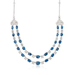"C. 1990 Vintage 18.00 ct. t.w. Sapphire and 3.00 ct. t.w. Diamond Two-Strand Necklace in 18kt White Gold. 16"", , default"