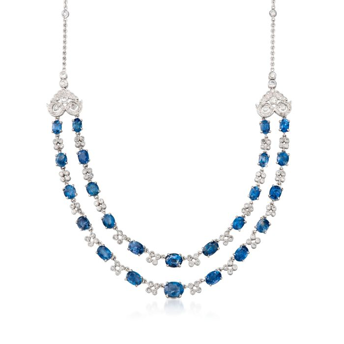 """C. 1990 Vintage 18.00 ct. t.w. Sapphire and 3.00 ct. t.w. Diamond Two-Strand Necklace in 18kt White Gold. 16"""", , default"""