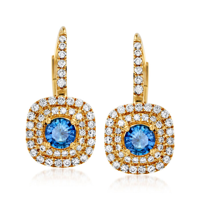 C. 1990 Vintage .80 ct. t.w. Sapphire and .75 ct. t.w. Diamond Earrings in 18kt Yellow Gold