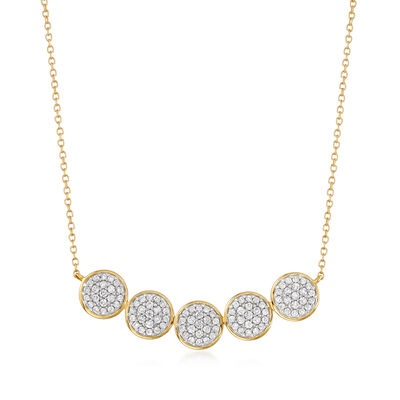 1.00 ct. t.w. Pave Diamond Multi-Disc Necklace in 14kt Yellow Gold