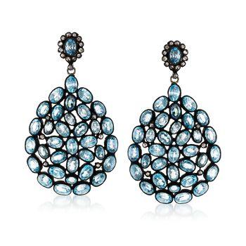 50.00 ct. t.w. Blue Zircon and .88 ct. t.w. Brown Diamond Drop Earrings in Sterling Silver, , default