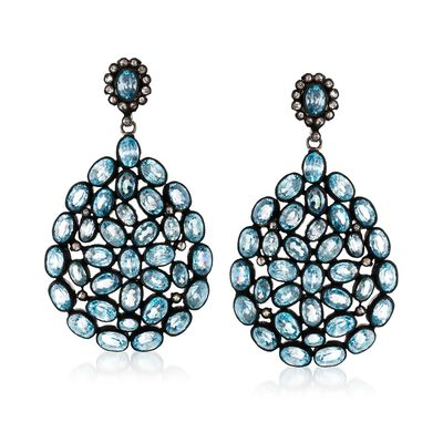 50.00 ct. t.w. Blue Zircon and .88 ct. t.w. Brown Diamond Drop Earrings in Sterling Silver, , default