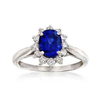 C. 1990 Vintage Tiffany Jewelry 1.40 Carat Sapphire and .40 ct. t.w. Diamond Ring in Platinum