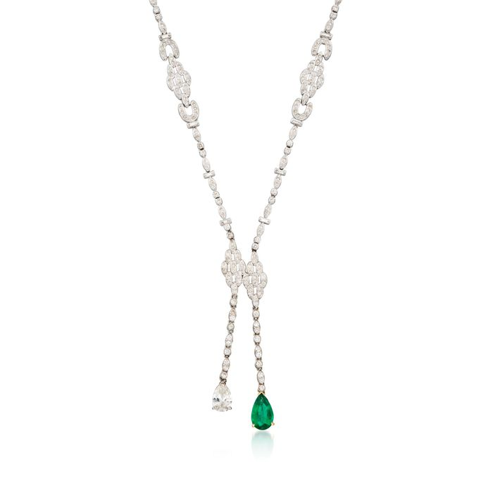 "C. 2000 Vintage 9.15 ct. t.w. Diamond and 2.35 Carat Emerald Lariat Necklace in 18kt White Gold. 16"", , default"