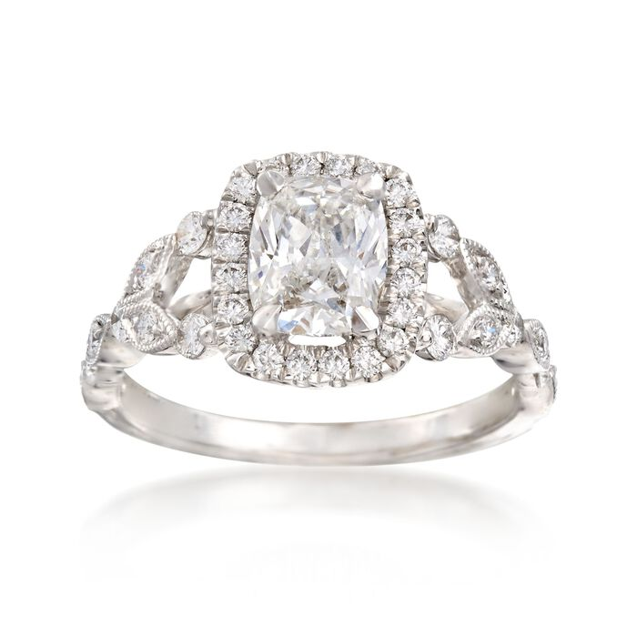 Henri Daussi 1.47 ct. t.w. Certified Diamond Engagement Ring in 18kt White Gold
