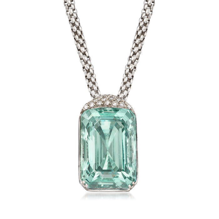 "C. 1990 Vintage 75.00 Carat Aquamarine and .55 ct. t.w. Diamond Pendant Necklace in 18kt White Gold. 19"", , default"