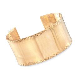 Italian 14kt Yellow Gold Wide Cuff Bracelet, , default