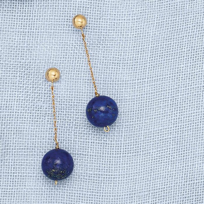 10mm Lapis Bead Drop Earrings in 14kt Yellow Gold