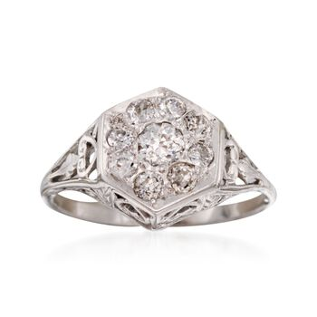 C. 1910 Vintage .60 ct. t.w. Diamond Ring in 14kt White Gold. Size 6, , default