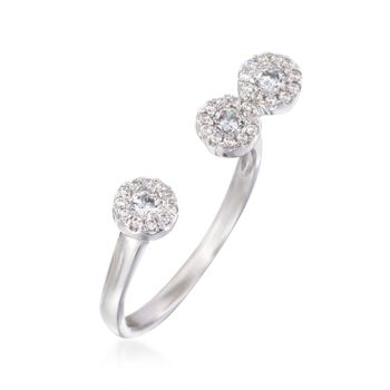 .38 ct. t.w. Pave CZ Circles Cuff Ring in Sterling Silver