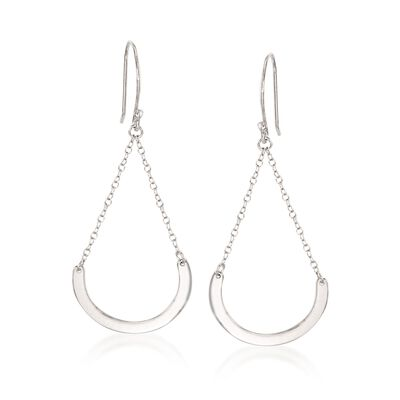 Sterling Silver Half-Circle Chain Drop Earrings, , default