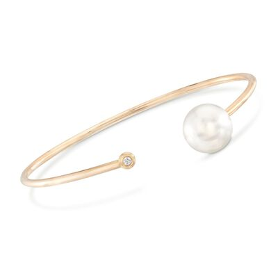 11-12mm Cultured South Sea Pearl Cuff Bracelet with Diamond Accent in 18kt Yellow Gold, , default