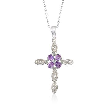 """.80 ct. t.w. Amethyst and .16 ct. t.w. White Topaz Cross Pendant Necklace in Sterling Silver. 18"""", , default"""