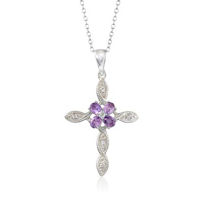 .80 ct. t.w. Amethyst and .16 ct. t.w. White Topaz Cross Pendant Necklace in Sterling Silver, , default