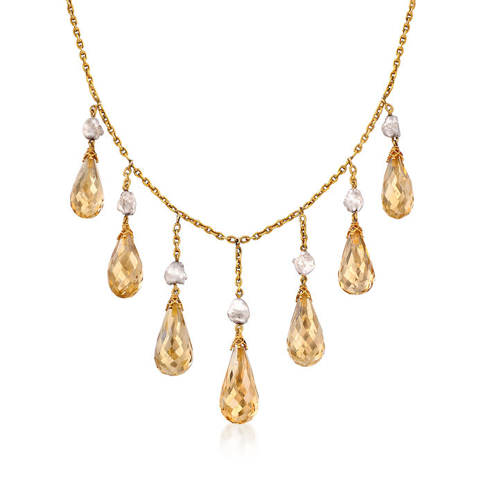 """C. 1960 Vintage 28.00 ct. t.w. Briolette Citrine and 7mm Gray Cultured Baroque Pearl Necklace in 14kt Yellow Gold. 14.5"""""""