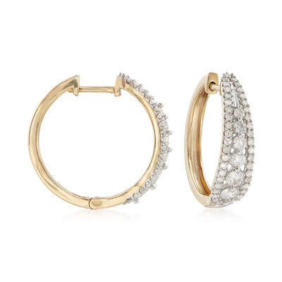 1.00 ct. t.w. Diamond Tapered Hoop Earrings in 14kt Yellow Gold, , default