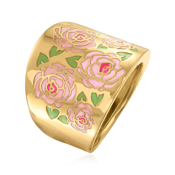 Italian Multicolored Enamel Floral Ring in 14kt Yellow Gold