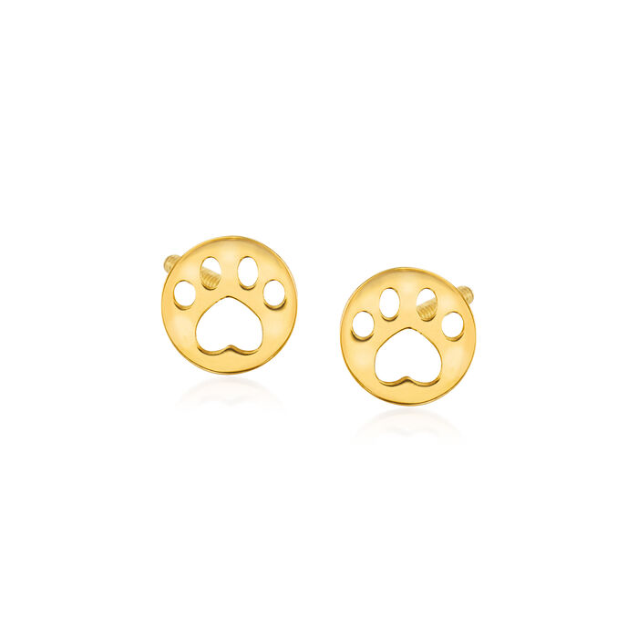 Child's 14kt Yellow Gold Paw Print Stud Earrings