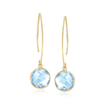 8.00 ct. t.w. Sky Blue Topaz Drop Earrings in 14kt Yellow Gold