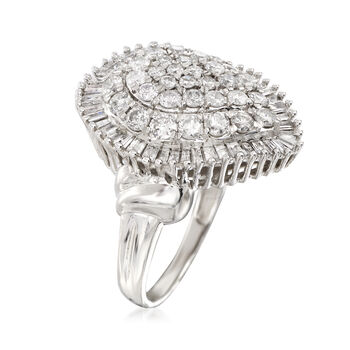 2.00 ct. t.w. Round and Baguette Diamond Teardrop Cluster Ring in 14kt White Gold, , default
