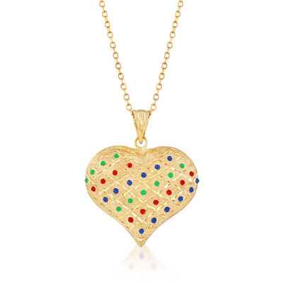 Multicolored Enamel Heart Pendant Necklace in 18kt Gold Over Sterling, , default