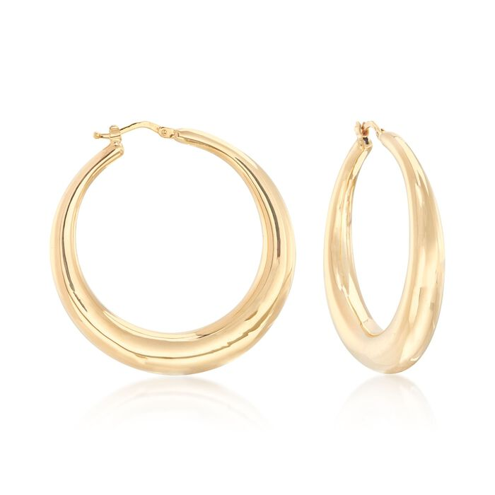 Italian 18kt Yellow Gold Graduated Hoop Earrings