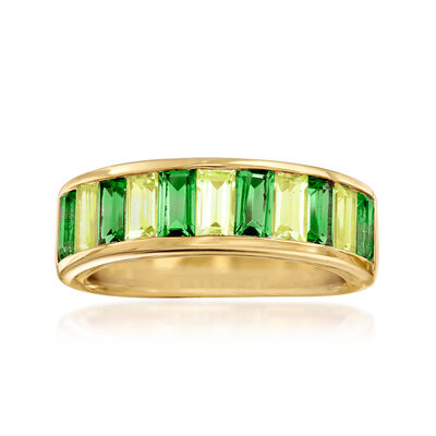 1.20 ct. t.w. Green Chrome Diopside and .90 ct. t.w. Peridot Ring in 18kt Gold Over Sterling, , default
