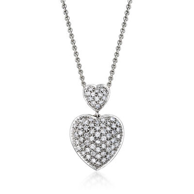 C. 1990 Vintage 1.25 ct. t.w. Diamond Heart Pendant Necklace in Sterling Silver and 18kt White Gold