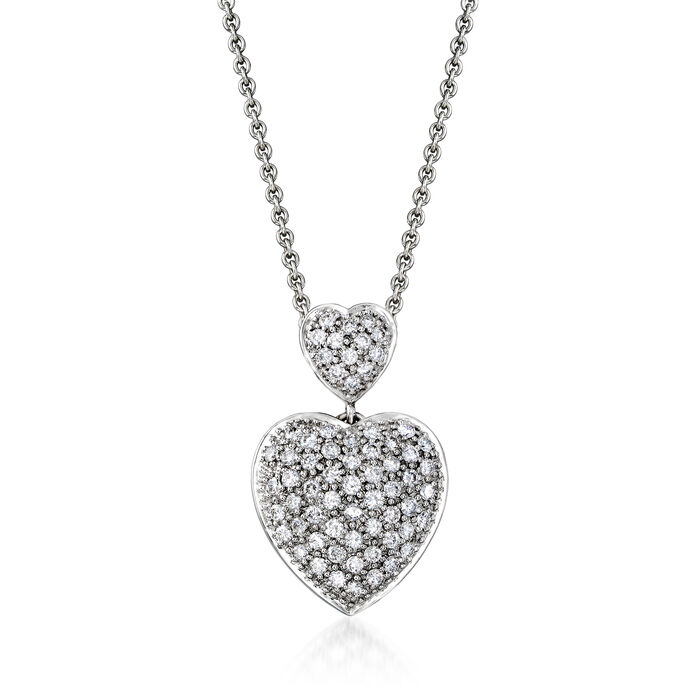 C. 1990 Vintage 1.25 ct. t.w. Diamond Heart Pendant Necklace in Sterling Silver and 18kt White Gold. 16""