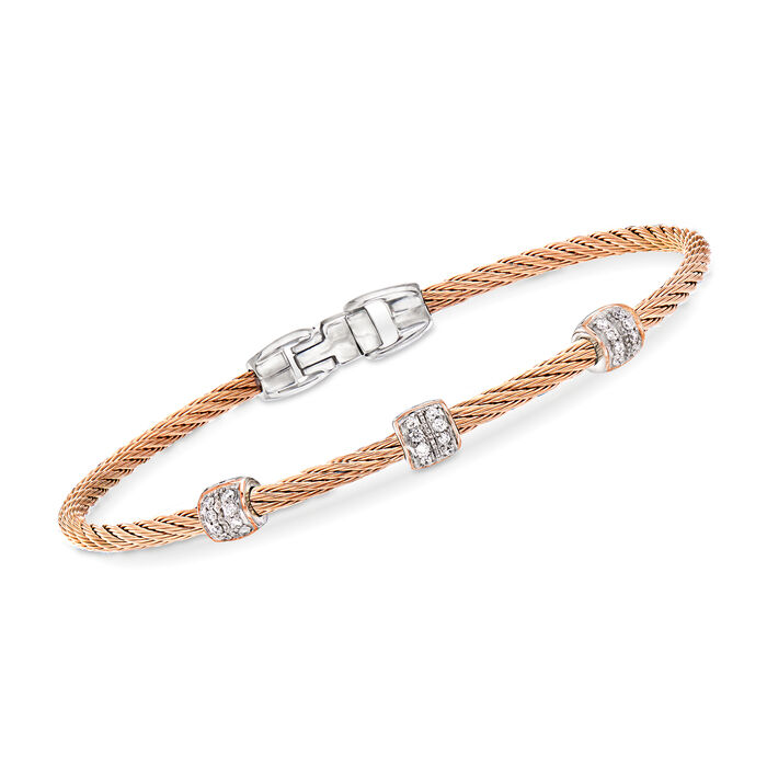 "ALOR ""Classique"" .21 ct. t.w. Diamond Blush Stainless Steel Cable Station Bracelet with 18kt Rose Gold. 7"", , default"