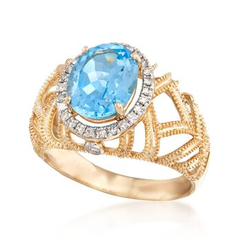 2.90 Carat Blue Topaz and .20 ct. t.w. Diamond Openwork Ring in 14kt Yellow Gold, , default
