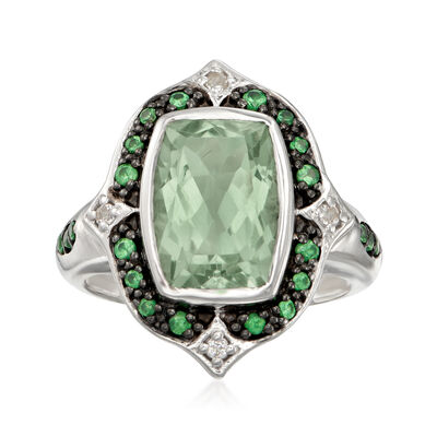 11.00 Carat Green Prasiolite and .38 ct. t.w. Multi-Gem Ring in Sterling Silver, , default