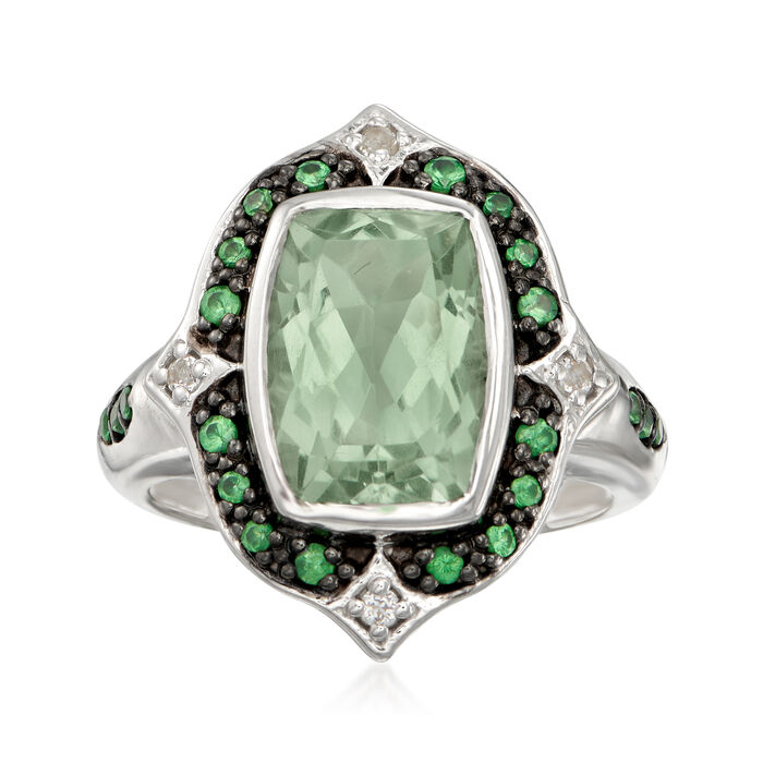 11.00 Carat Green Prasiolite and .38 ct. t.w. Multi-Gem Ring in Sterling Silver