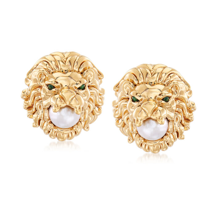 7-7.5mm Cultured Pearl Lion Head Earrings with Emerald Accents in 14kt Yellow Gold, , default