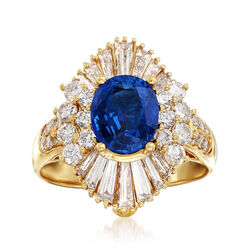 C. 1980 Vintage 2.18 Carat Sapphire and 1.73 ct. t.w. Diamond Pendant Ring in 14kt Yellow Gold, , default