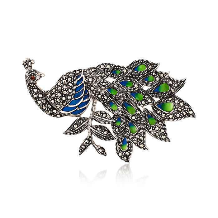 Blue and Green Enamel and Marcasite Peacock Pin with Garnet Accent in Sterling Silver