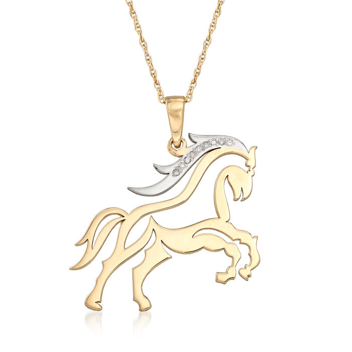 Diamond-Accented Horse Necklace in 14kt Two-Tone Gold