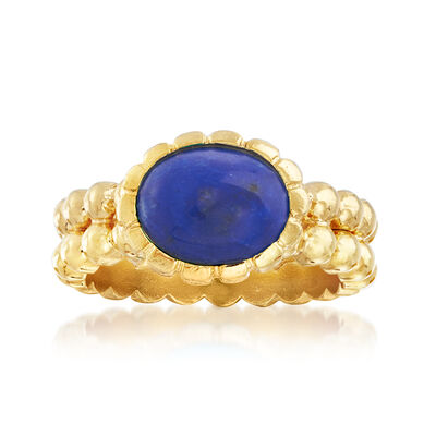 Italian 10x8mm Lapis Double-Row Beaded Ring in 18kt Gold Over Sterling, , default