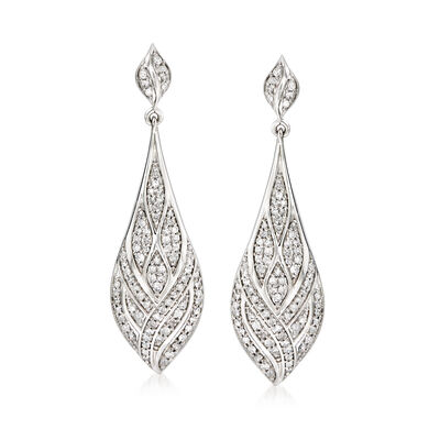 1.00 ct. t.w. Diamond Geometric Teardrop Earrings in Sterling Silver, , default