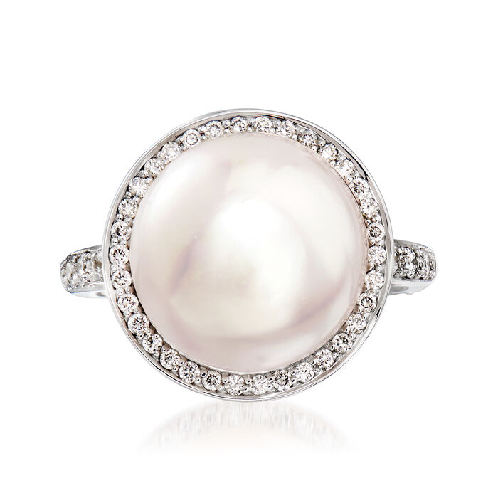 C. 1990 Vintage Mimi Milano 13.5mm Cultured Pearl and .45 ct. t.w. Diamond Ring in 18kt White Gold. Size 5.5