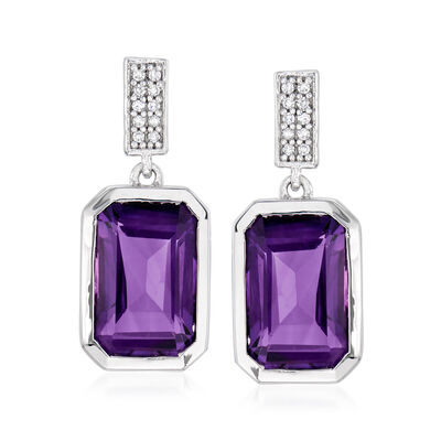 6.50 ct. t.w. Amethyst and .10 ct. t.w. Diamond Drop Earrings in Sterling Silver, , default