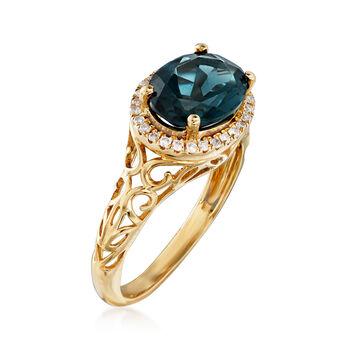 3.00 Carat London Blue Topaz and .10 ct. t.w. Diamond Ring in 14kt Yellow Gold