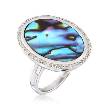 Abalone Shell and .29 ct. t.w. Diamond Ring in Sterling Silver, , default