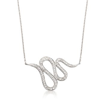".28 ct. t.w. Diamond Snake Necklace in 14kt White Gold. 18"", , default"