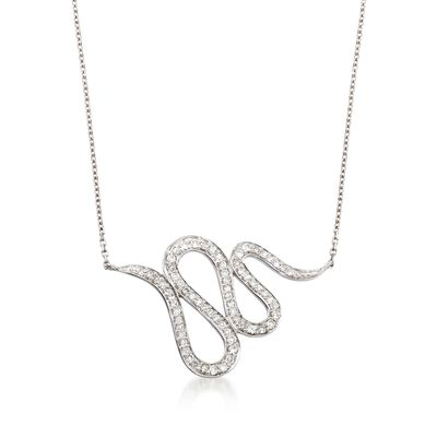 .28 ct. t.w. Diamond Snake Necklace in 14kt White Gold, , default