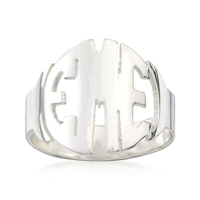 Sterling Silver Circular Block Monogram Ring, , default