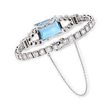 """C. 1950 Vintage 16.80 ct. t.w. Aquamarine and 7.31 ct. t.w. Diamond Bracelet in Platinum. 7"""""""