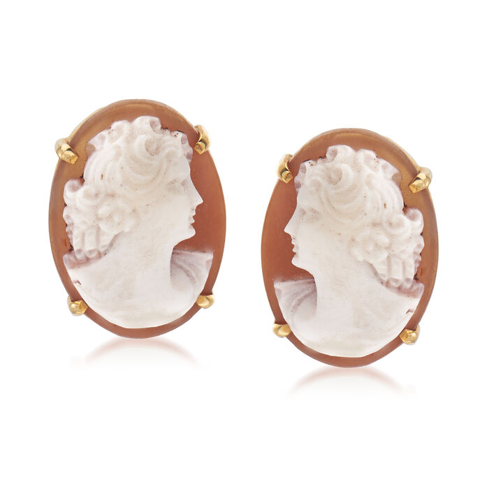 C. 1950 Vintage Pink Shell Cameo Non-Pierced Screwback Earrings in 14kt Yellow Gold